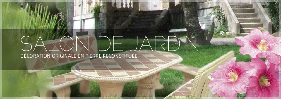 salon de jardin en pierre aublet d co jardin. Black Bedroom Furniture Sets. Home Design Ideas